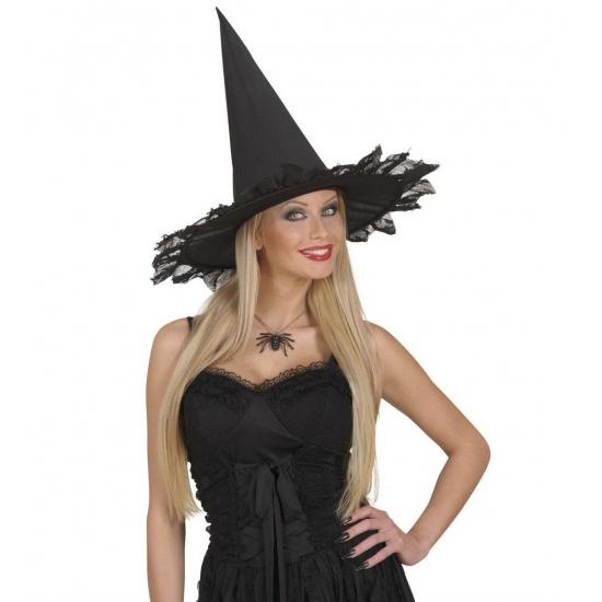 Zwarte heksen ketting met spin (bron: Funenfeestwinkel)