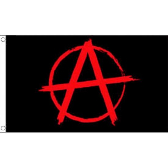 Zwarte met rode Anarchie vlag (bron: Funenfeestwinkel)