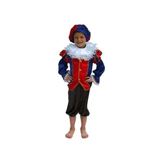 Zwarte Piet pak blauw/zwart kinderen (bron: Funenfeestwinkel)