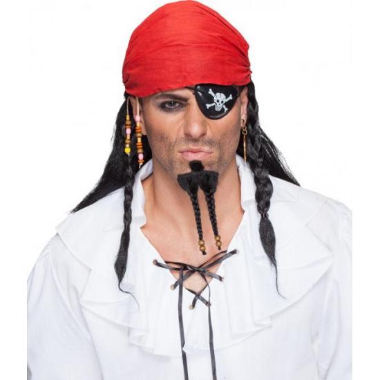 Zwarte piraten pruik met bandana (bron: Funenfeestwinkel)